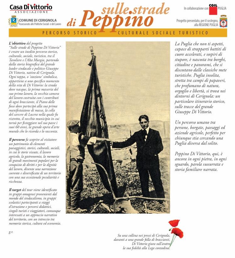 """immagine della prima pagina della brochure """"Sulle strade di Peppino"""""""